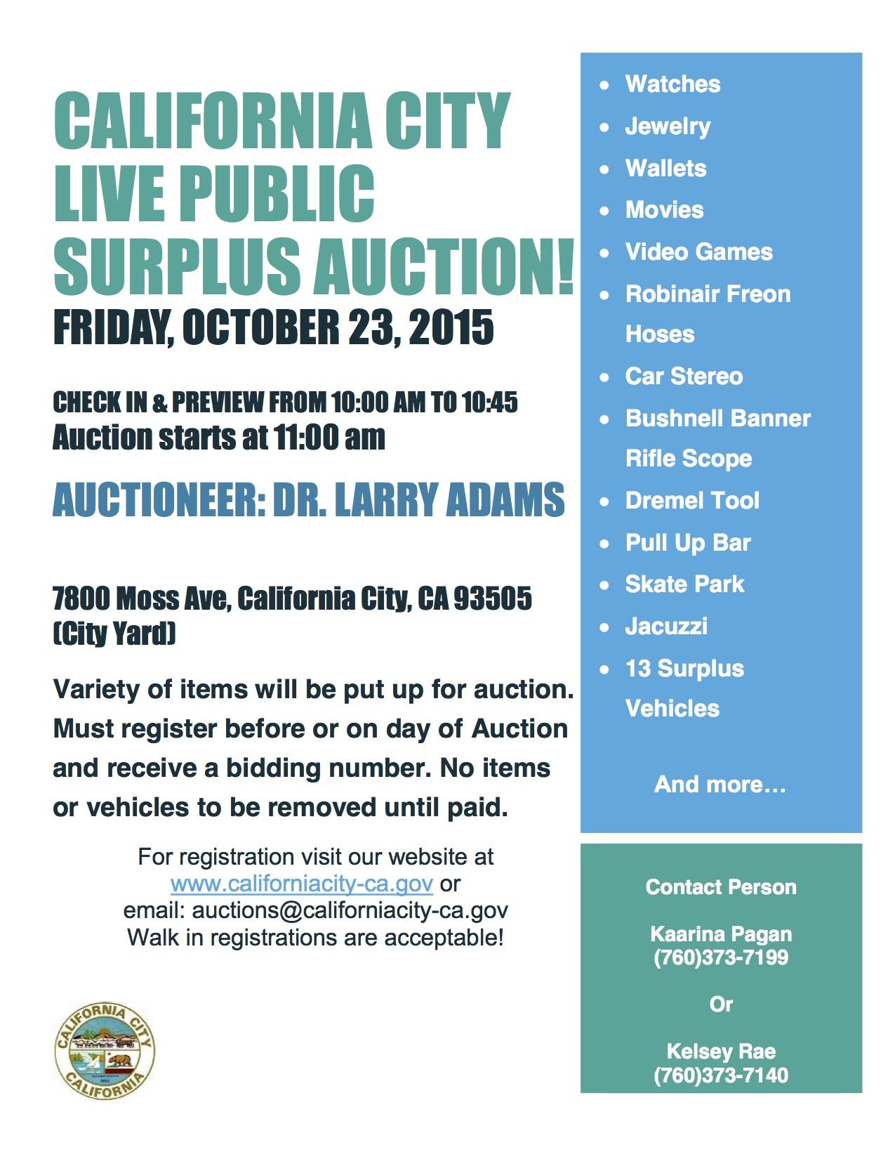 California City Live Public Surplus Auction!
